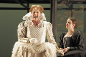 'MARY, QUEEN OF SCOTS' (Donizetti, after Schiller   conductor: Noel Davies   director: James Conway),l-r: Anne Mason (Elizabeth), Sarah Jillian Cox (Hannah/Mary's Lady in Waiting),English Touring Oper...