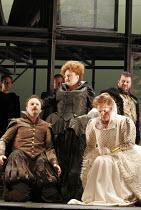 'MARY, QUEEN OF SCOTS' (Donizetti, after Schiller   conductor: Noel Davies   director: James Conway),l-r: Nicholas Ransley (Leicester), Jennifer Rhys-Davies (Elizabeth), Anne Mason (Elizabeth), Andrew...