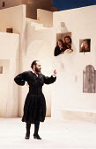 TWELFTH NIGHT   by Shakespeare   design: Kit Surrey   costumes: Deirdre Clancy   director: Bill Alexander <br>,front: Antony Sher (Malvolio),rear, l-r: Jim Hooper (Fabian), Roger Allam (Sir Toby Belch...