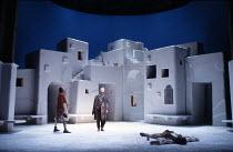 TWELFTH NIGHT   by Shakespeare   design: Kit Surrey   costumes: Deirdre Clancy   director: Bill Alexander <br>,l-r: David Bradley (Sir Andrew Aguecheek), Bruce Alexander (Feste), Roger Allam (Sir Toby...