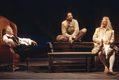 TWELFTH NIGHT   by Shakespeare   set design: John Gunter   costumes: Deirdre Clancy   director: Ian Judge <br>,l-r: Tony Britton (Sir Toby Belch), Derek Griffiths (Feste), Bille Brown (Sir Andrew Ague...