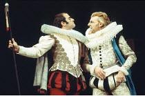 THE TAMING OF THE SHREW   by Shakespeare   design: Farrah   director: Clifford Williams <br>,l-r: David Suchet (Tranio), Jeffery Dench (Gremio),Royal Shakespeare Company (RSC) / Royal Shakespeare Thea...