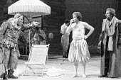 THE TAMING OF THE SHREW   by Shakespeare   design: Bob Crowley   director: Barry Kyle <br>,Act I - l-r: Pete Postlethwaite (Grumio), Ian Talbot (Hortensio), Alun Armstrong (Petruchio)   ,Royal Shakesp...