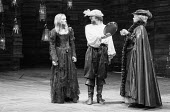THE TAMING OF THE SHREW   by Shakespeare   design: Bob Crowley   director: Barry Kyle <br>,Act IV - l-r: Sinead Cusack (Katherina), Alun Armstrong (Petruchio), Alexandra Brook (Haberdasher)   ,Royal S...