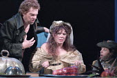 THE TAMING OF THE SHREW   by Shakespeare   set design: Russell Craig   costume design: Marie-Jeanne Lecca   director: Gale Edwards <br>,left: Michael Siberry (Petruchio)   centre: Josie Lawrence (Kath...