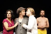 TWELFTH NIGHT   by Shakespeare   director: Sean Holmes ~l-r: Syreeta Kumar (Olivia), Poppy Miller (Viola / Sebastian), Jonathan Broadbent (Orsino / Aguecheek), Ferdy Roberts (Malvolio)~Filter in assoc...