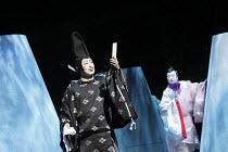 TWELFTH NIGHT   after Shakespeare   stage design: Yuichiro Kanai   lighting: Jiro Katsushiba   director: Yukio Ninagawa ~l-r: Onoe Kikugoro VII (Malvolio), Nakamura Kanjaku V (Sir Andrew Aguecheek)~Sh...