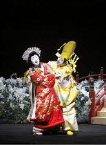 TWELFTH NIGHT   after Shakespeare   ~stage design: Yuichiro Kanai   lighting: Jiro Katsushiba   director: Yukio Ninagawa ~Olivia resists Malvolio's advances - l-r: Nakamura Tokizo V (Olivia), Onoe Kik...