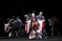 TWELFTH NIGHT   after Shakespeare   stage design: Yuichiro Kanai   lighting: Jiro Katsushiba   director: Yukio Ninagawa ~l-r: Nakamura Kanjaku V (Sir Andrew Aguecheek), Ichikawa Sadanji IV (Sir Toby B...