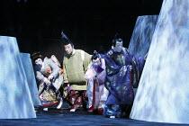 TWELFTH NIGHT   after Shakespeare   stage design: Yuichiro Kanai   lighting: Jiro Katsushiba   director: Yukio Ninagawa ~l-r: Ichikawa Kamejiro II (Maria), Ichikawa Danzo IX (Fabian), Nakamura Kanjaku...