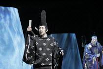 TWELFTH NIGHT   after Shakespeare   stage design: Yuichiro Kanai   lighting: Jiro Katsushiba   director: Yukio Ninagawa ~l-r: Onoe Kikugoro VII (Malvolio), Ichikawa Sadanji IV (Sir Toby Belch)~Shochik...
