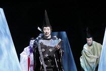 TWELFTH NIGHT   after Shakespeare   stage design: Yuichiro Kanai   lighting: Jiro Katsushiba   director: Yukio Ninagawa ~l-r: Nakamura Kanjaku V (Sir Andrew Aguecheek), Onoe Kikugoro VII (Malvolio), I...