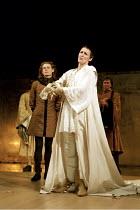 RICHARD II   by Shakespeare   design: Hildegard Bechtler   lighting: Peter Mumford   director: Deborah Warner ~l-r: Julian Rhind-Tutt (Edward, Duke of Aumerle), Fiona Shaw (Richard II)   ~Cottesloe Th...