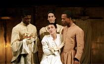 RICHARD II   by Shakespeare   design: Hildegard Bechtler   lighting: Peter Mumford   director: Deborah Warner ~I/i - l-r: Danny Sapani (Sir William Bagot), (front) Fiona Shaw (Richard II), Henry Ian C...