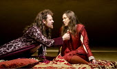 TWELFTH NIGHT   by Shakespeare   design: Anthony Ward   lighting: Peter Mumford   director: Peter Hall ~Marton Csokas (Orsino), Rebecca Hall (Viola)~Cottesloe Theatre / National Theatre (NT), London S...