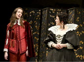 TWELFTH NIGHT   by Shakespeare   design: Anthony Ward   lighting: Peter Mumford   director: Peter Hall ~l-r: Rebecca Hall (Viola), Amanda Drew (Olivia)~Cottesloe Theatre / National Theatre (NT), Londo...