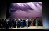 FIDELIO   by Beethoven   conductor: Sir Richard Armstrong   design: Stewart Laing   lighting: Peter Mumford   director: Tim Albery ~final scene - front left: Andrew Foster Williams (Pizarro)   centre:...