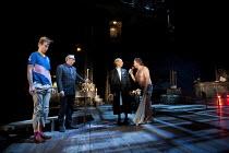 TWELFTH NIGHT  by Shakespeare   design: Jon Bausor   lighting: Jon Clark   director: David Farr ~II/iii - l-r: Bruce McKinnon (Aguecheek), Kevin McMonagle (Feste), Jonathan Slinger (Malvolio), Nichola...