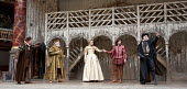 THE TAMING OF THE SHREW   by Shakespeare   design: Mike Britton   director: Toby Frow ~V/i - l-r: Michael Bertenshaw (Gremio), Pip Donaghy (Baptista), Sarah MacRae (Bianca), Joseph Timms (Lucentio), D...