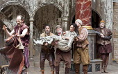 THE TAMING OF THE SHREW   by Shakespeare   design: Mike Britton   director: Toby Frow ~IV/i - l-r: Simon Paisley Day (Petruchio), Tom Anderson (Curtis), David Beames (servant), Samantha Spiro (Katheri...