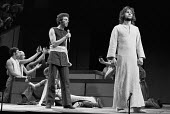 JESUS CHRIST SUPERSTAR   music: Andrew Lloyd Webber   lyrics: Tim Rice   director: Jim Sharman ~l-r: Stephen Tate (Judas Iscariot), Paul Nicholas (Jesus) - original London stage cast ~Palace Theatre,...
