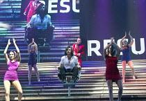 JESUS CHRIST SUPERSTAR   music: Andrew Lloyd Webber   lyrics: Tim Rice   design: Mark Fisher   lighting: Patrick Woodroffe   director: Laurence Connor ~centre: Ben Forster (Jesus), Chris Moyles (King...