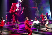 JESUS CHRIST SUPERSTAR   music: Andrew Lloyd Webber   lyrics: Tim Rice   design: Mark Fisher   lighting: Patrick Woodroffe   director: Laurence Connor ~front centre: Chris Moyles (King Herod), Ben For...