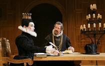 TWELFTH NIGHT   by Shakespeare   design: Jenny Tiramani   lighting: David Plater   director: Tim Carroll ~I/v - l-r: Mark Rylance (Olivia), Stephen Fry (Malvolio) ~Shakespeare's Globe production / Apo...