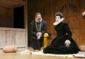TWELFTH NIGHT   by Shakespeare   design: Jenny Tiramani   lighting: David Plater   director: Tim Carroll ~III/iv - l-r: Stephen Fry (Malvolio), Mark Rylance (Olivia)~Shakespeare's Globe production / A...