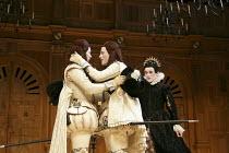TWELFTH NIGHT   by Shakespeare   design: Jenny Tiramani   lighting: David Plater   director: Tim Carroll ~V/i - l-r: Samuel Barnett (Sebastian), Johnny Flynn (Viola), Mark Rylance (Olivia)~Shakespeare...