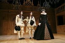 TWELFTH NIGHT   by Shakespeare   design: Jenny Tiramani   lighting: David Plater   director: Tim Carroll ~V/i - l-r: Johnny Flynn (Viola), Samuel Barnett (Sebastian), Mark Rylance (Olivia)~Shakespeare...