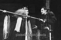 RICHARD III   by Shakespeare   design: Carl Toms   lighting: Mick Hughes   director: Clifford Williams ~Barbara Jefford (Queen Margaret), Derek Jacobi (Richard III) ~Phoenix Theatre, London WC2   24/0...