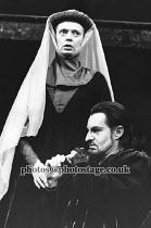RICHARD III   by Shakespeare   design: Carl Toms   lighting: Mick Hughes   director: Clifford Williams ~Kathryn Pogson (Lady Anne), Derek Jacobi (Richard III)~Phoenix Theatre, London WC2   24/01/1989...