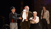 TWELFTH NIGHT   by Shakespeare   design: Laura Hopkins   lighting: Paul Keogan   director: Gemma Bodinetz ~front, l-r: Paul Duckworth (Feste), Matthew Kelly (Sir Toby Belch), Pauline Daniels (Maria)~E...