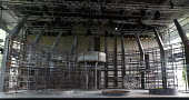 FIDELIO   by Beethoven   conductor: Douglas Boyd   design: Gary McCann   lighting: Howard Hudson   director: John Cox ~stage,set,full,empty,stell,girders,frame,metal~Garsington Opera at Wormsley / Oxf...