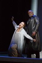 PARSIFAL   by Wagner   conductor: Antonio Pappano   design: Alison Chitty   lighting: Paul Pyant   director: Stephen Langridge   Act 2: Angela Denoke (Kundry), Willard W. White (Klingsor) (slight mesh...