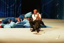 TWELFTH NIGHT by Shakespeare design: Huntley/Muir lighting: Alan Burrett director: David Pountney  overhearing Malvolio - l-r: Campbell Morrison (Sir Toby Belch), Helen Ryan (Maria), Christopher Good...