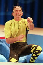 TWELFTH NIGHT by Shakespeare design: Huntley/Muir lighting: Alan Burrett director: David Pountney cross gartered: Richard Durden (Malvolio)Nottingham Playhouse, Nottingham, England 11/02/1995,?Donald...