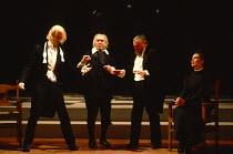 TWELFTH NIGHT by Shakespeare design: Ultz lighting: Mick Hughes director: Griff Rhys Jones l-r: Tim McInnerny (Sir Andrew Aguecheek), Ken Wynne (Feste), Bill Wallis (Sir Toby Belch), Linda Marlowe (Ma...
