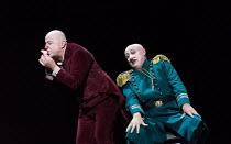 the Police Inspector returns Platon's nose - Martin Winkler (Platon Kuzmitch Kovalov), Alexander Kravets (District Police Inspector) in THE NOSE by Shostakovich opening at the The Royal Opera, Covent...