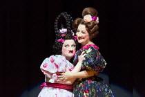 l-r: Ailish Tynan (Podtotshina's daughte ), Helene Schneiderman (Pelageya Grigoryevna Podtotshina) in THE NOSE by Shostakovich opening at the The Royal Opera, Covent Garden, London WC2 on 20/10/2016 ~...
