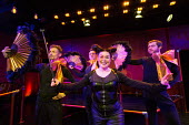 centre: Emma Ralston (Pluto) in THE FROGS by Aristophanes adapted by Burt Shevelove & Nathan Lane music & lyrics: Stephen Sondheim opening at the Jermyn Street Theatre, London SW1 on 16/03/2017 design...