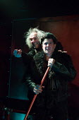 l-r: Michael Matus (Dionysos), Jonathan Wadey (Charon) in THE FROGS by Aristophanes adapted by Burt Shevelove & Nathan Lane music & lyrics: Stephen Sondheim opening at the Jermyn Street Theatre, Londo...