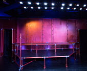 THE FROGS by Aristophanes adapted by Burt Shevelove & Nathan Lane music & lyrics: Stephen Sondheim design: Gregor Donnelly lighting: Tim Mascall director: Grace Wessels stage,set,empty,Jermyn Street T...