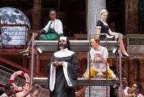 front: Le Gateau Chocolat (Feste), Katy Owen (Malvolio) above: Nandi Bhebhe (Fabian), Carly Bawden (Maria) in TWELFTH NIGHT by Shakespeare opening at Shakespeare's Globe, London SE1 on 24/05/2017 desi...