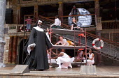 left: Le Gateau Chocolat (Feste) centre: Katy Owen (Malvolio), (above) Carly Bawden (Maria) in TWELFTH NIGHT by Shakespeare opening at Shakespeare's Globe, London SE1 on 24/05/2017 design: Lez Brother...