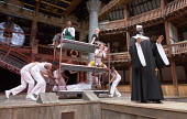 centre: Katy Owen (Malvolio), (above) Nandi Bhebhe (Fabian), Carly Bawden (Maria) right: Le Gateau Chocolat (Feste) in TWELFTH NIGHT by Shakespeare opening at Shakespeare's Globe, London SE1 on 24/05/...