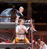 Katy Owen (Malvolio), (above) Carly Bawden (Maria) in TWELFTH NIGHT by Shakespeare opening at Shakespeare's Globe, London SE1 on 24/05/2017 design: Lez Brotherston lighting: Malcolm Rippeth director:...