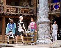 l-r: Tony Jayawardena (Sir Toby Belch), Carly Bawden (Maria), Marc Antolin (Sir Andrew Aguecheek), Pieter Lawman (Antonio) in TWELFTH NIGHT by Shakespeare opening at Shakespeare's Globe, London SE1 on...