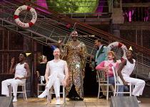 centre, l-r: Pieter Lawman (Antonio), Le Gateau Chocolat (Feste), Tony Jayawardena (Sir Toby Belch), Marc Antolin (Sir Andrew Aguecheek) in TWELFTH NIGHT by Shakespeare opening at Shakespeare's Globe,...
